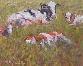 David Rylance Original Impressionist Oil Painting Of Cattle