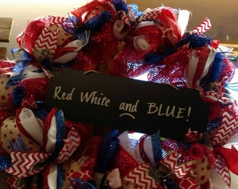 Red,white and blue wreath.