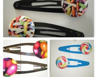 Toddler/Girl/Adult Button Snap Hair Clips Set of 2 - Lolly Pop Swirl on White Clips - 5 cm