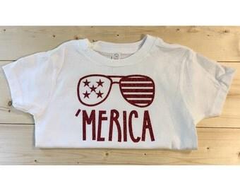 Merica Girls Shirt - Merica Onesie - America - Memorial Day - Fourth of July
