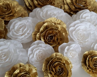 12 Gold white giant large paper flowers bridal baby shower chanel Wedding gatsby backdrop wall vintage party decor Boho Graduation Birthday