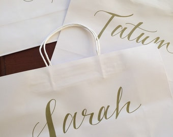 Personalized Gift Bag LARGE,  Gold, White, Hand-lettered, Customized, Bridesmaid Gift, Groomsmen, Names