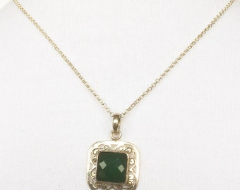 Green aventurine 925 sterling silver necklace