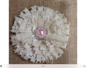 Handmade Burlap & Lace 11 cm Flower,glue to jars, diaper cake,decorations, rustic western hens or wedding party