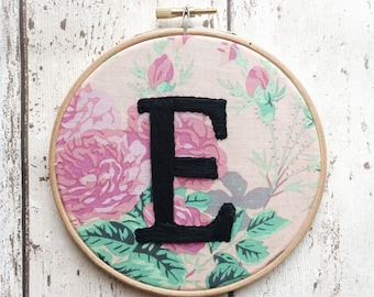"Adorable Custom Alphabet Letter Embroidery Hoop. 6, 7 or 8"" Hoop With Choice Of Fabric."