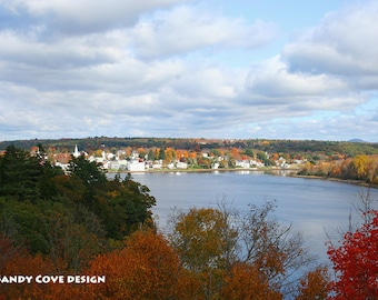 5 x 7 Greeting Card with Envelope - Bird's Eye View of Bucksport, Maine in the Fall, Seascape, Cove, Foliage