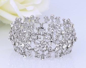 Wedding Bridal Bracelet, Flower Girl Bracelet, Bridesmaid Bracelet, Crystal Bracelet,Bridal Jewelry Set,