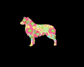 Australian Shepherd Cattle Dog Puppy Preppy Print Decal!  Full or Docked tail Choose your Pattern and Size!
