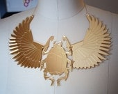 Gold Mirror Scarab Beetle Bib Necklace, Laser Cut Acrylic, Geometric Statement Necklace, Egyptian, Modern Jewelry