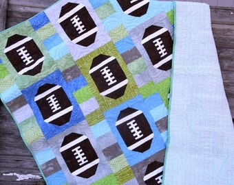 Football Quilt, Sports Quilt, Youth Quilt, Man Cave Decor, Football Decor, Baby Boy Gift, Sports Fanatic, Sports Decor, Den Decor, Handmade