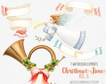 Christmas clipart, winter clipart, Angel clipart, digital clipart, Music Tube clipart, Scarf clipart, holiday clipart, watercolor banner