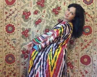 A Vintage Ikat Silk Chapan