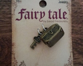 Fairy Tale by Bead Treasures- Brass Colored Trunk and Key Charms