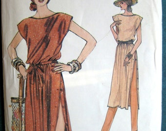 Vintage Very Easy  Vogue Pattern 7353 Pullover Sleeveless Loose Fitting Dress Pants sz 12