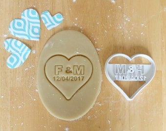 Personalized Wedding Heart 3D Printed Cookie Cutter | Anniversary/Bridal Shower / Engagement