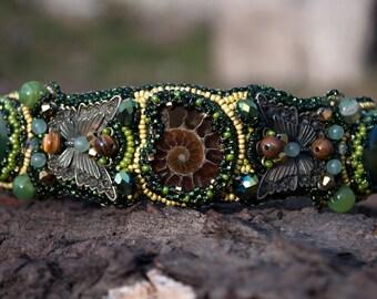Ammonite, natural agate,Headband, Bead embroidered,Embroidered headband with green,Elegant beaded headband ,Hair Accessories