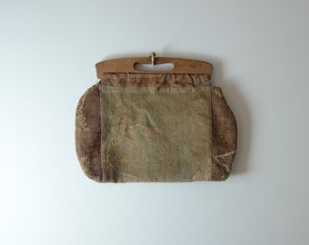 vintage 1940's Hand Sawn Bag with Wooden Handle-Women-