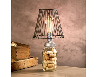 Mason jar lamp etsy for Glass jar floor lamp