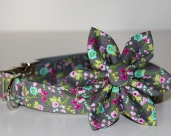 Gray Floral Adjustable Dog Collar with Metal Buckle and Bow Tie
