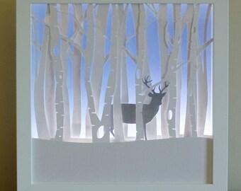 Winter Stag  Framed Night light.