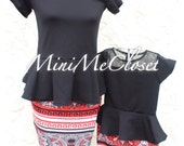 Matching Mother and Daughter Dress (Mom and Me) - Black Mesh Peplum Top and skirt