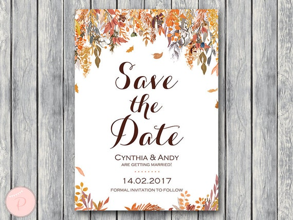 When Should Save The Dates Be Sent: Autumn Fall Save The Date Wedding Invitation Invitation