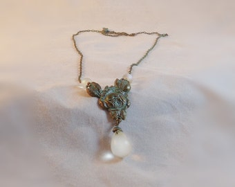 Verdigris Victorian Rose Necklace with Frosted Teardrop