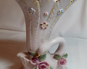 Fluted vase, swan & roses, 3-D, gilded, hand painted, kitsch