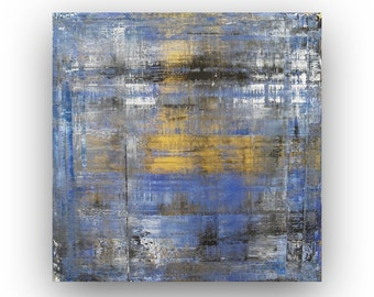 Original Gold Abstract Painting Gold and Blue Painting Acrylic Painting Abstract Canvas Small Painting Modern Canvas Art Square Art Painting