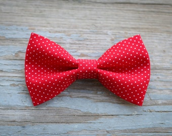 Red and white polkadot bow tie