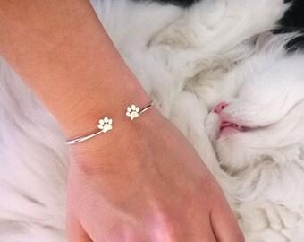 Adjustable Paw Print Bracelet • Paw Bracelet • Dog paw • Cat paw • Paw Print Bracelet • Paw Jewelry • Paw Print • Silver Bracelet • Jewelry