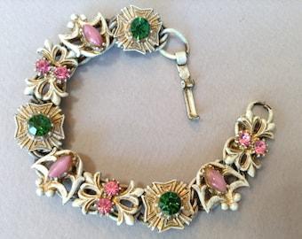 Florenza French White Enamel Signed Bracelet