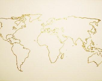 Gold Leaf World Map