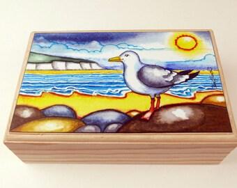 Seagull Jewellery Box.Art and Collectables, Seaside Gift,Home Decor,Seagull Gift,Trinket Box.Keepsake Box.Seagull Art, Box.