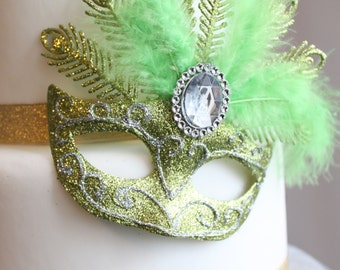 Glittery Masquerade Masks (Lime Green & Silver), Cake Accent, Centerpiece, Decoration, Cake Topper, overthetopcaketopper