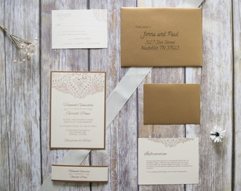 Champagne and Gold Fancy Wedding Invitation, Sample, Handmade, Indian, Unique