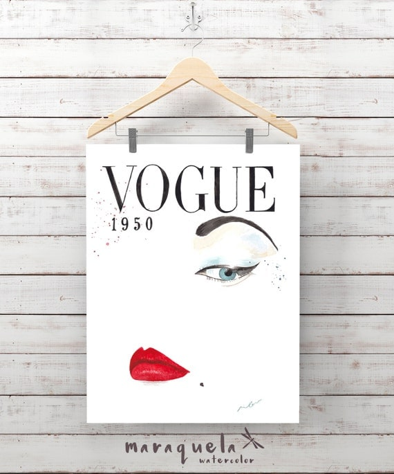 VOGUE COVER illustration 1950 Watercolour painting handmade.Fashion wall art, Prints, Art Lips eyes Vogue, Glamour poster painted, gift her