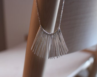 Art-deco style Silver Fringe Necklace