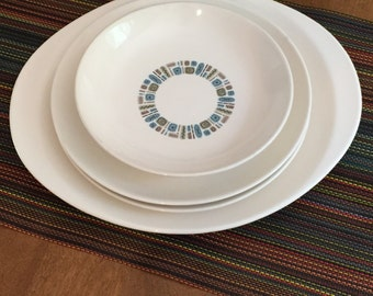 Set of 4 Vintage Temporama Canonsburg Pottery Dura Gloss Decoration- Made in USA- (1)Soup Bowl(2) Dinner Plates(1)Platter Shipping Included