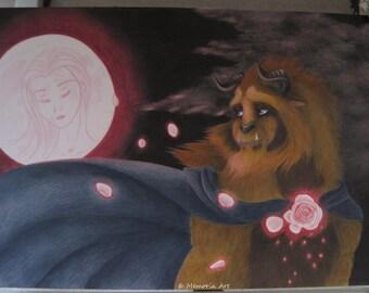 Original Disney fanart drawing of beauty and the beast