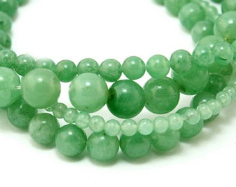 1 Strand - 48 Beads, 8mm Green Aventurine Smooth Round Natural Gemstone Beads, Beading Wholesale Jewelry Supplies Stones, Bracelet, Necklace