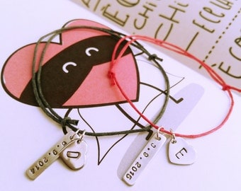 Bracelet with heart and customizable label
