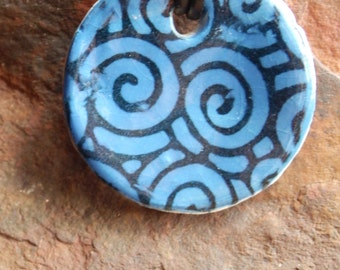 Blue Swirl Patterened Ceramic Necklace