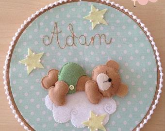 Bear on the Cloud Embroidery Hoop Wall Décor - Custom Name