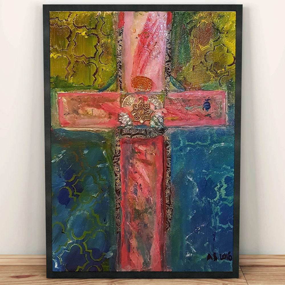 Religious Art: Religious Art Christian Cross Easter Art Collage