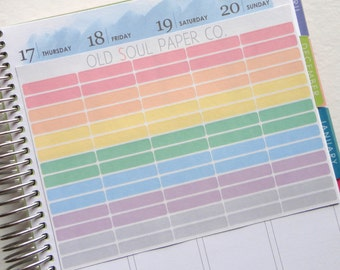 Pastel Rectangle Planner Stickers - Reminder Stickers, Appointment Stickers