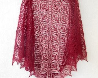 Mohair Shawl. Hand Knit Lace Shawl. Free Shipping. Knit triangular shawl. Made To Order. Knitted Shawl