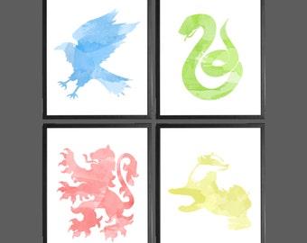 Harry Potter Watercolor Modern Art Prints - Set of 4