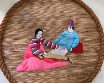 Vintage Japanese Handmade 3d Fabric Picture