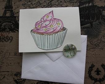 Cupcake hand painted greeting card